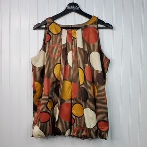 Dressbarn Sleeveless Geometric Print Sheen Blouse